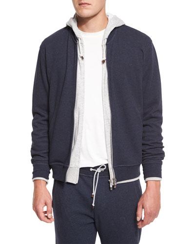 Baseball-Collar Zip-Up Sweatshirt, Blue