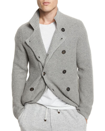 Double-Breasted Shaker-Knit Cashmere Cardigan