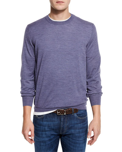 Fine-Gauge Crewneck Sweater, Purple