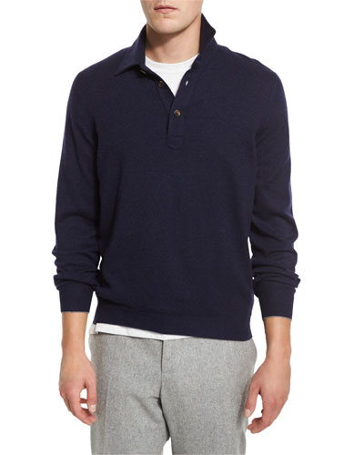 Solomeo Wool-Blend Polo Sweater, Cobalt