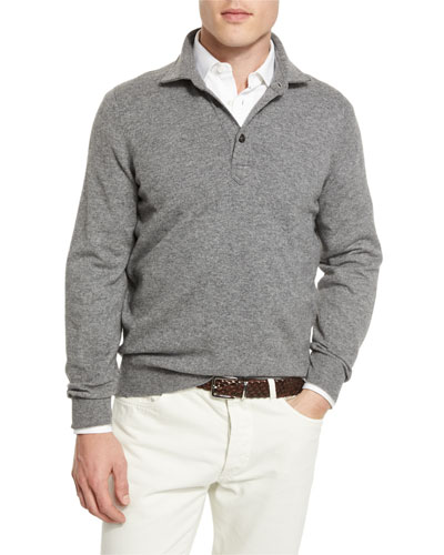 Solomeo Wool-Blend Polo Sweater, Dark Gray