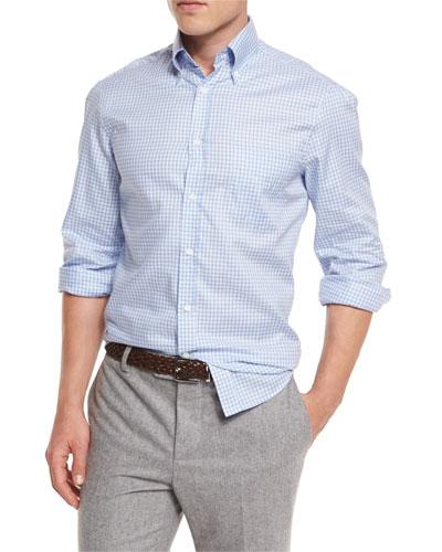 Basic-Fit Check Sport Shirt, Light Blue