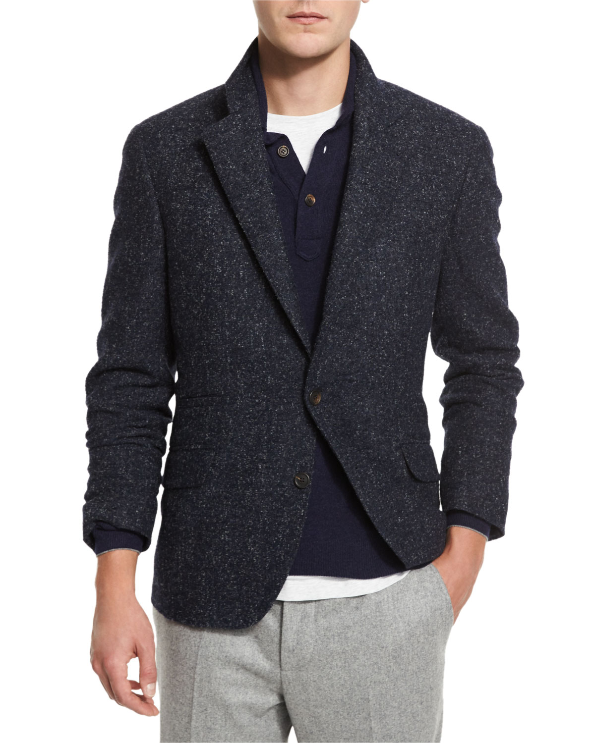 Boucle Two-Button Sport Coat, Navy