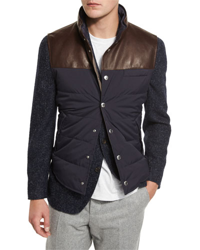 Quilted Nylon & Leather Vest, Navy