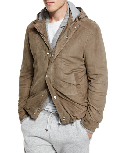 Suede Hooded Shirt Jacket, Taupe