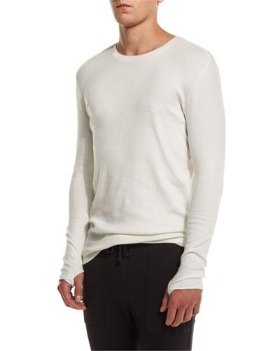 Long-Sleeve Crewneck T-Shirt, White
