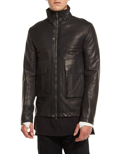 Leather Funnel-Neck Jacket, Black