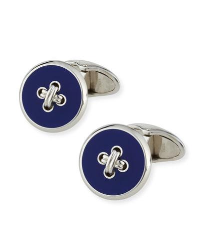 Button & Thread Cuff Links, Silver/Blue