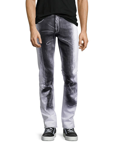 Trompe l'Oeil Stretch-Gabardine Straight-Leg Denim Jeans