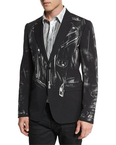 Trompe L'Oeil Moto-Jacket Blazer