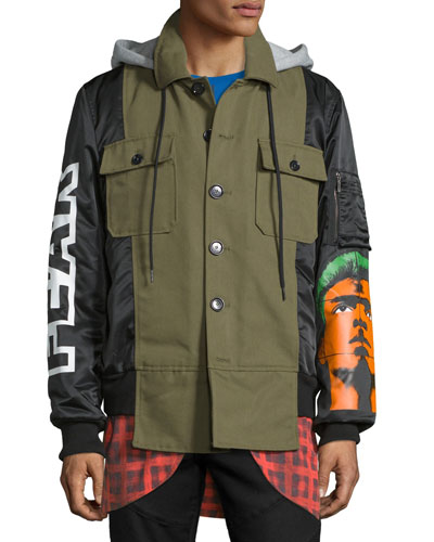 Logo-Print Hooded Field Jacket, Olive