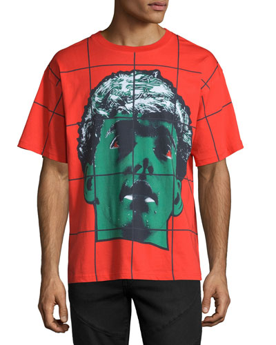 Grid Statue-Print Short-Sleeve T-Shirt, Red