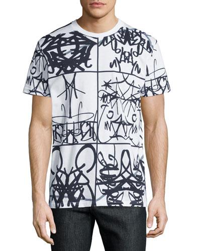 Graffiti-Text Graphic T-Shirt, White