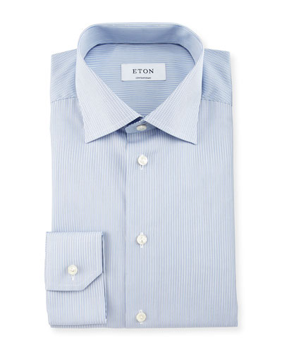 Contemporary-Fit Micro-Stripe Dress Shirt, White/Light Blue