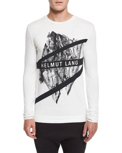 Logo Graphic Long-Sleeve Crewneck T-Shirt, White Multi