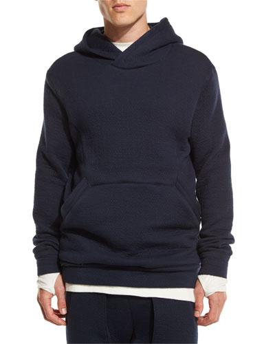 Textured-Knit Pullover Hoodie, Dark Ink