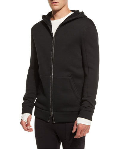 Two-Way Front-Zip Long Hoodie, Black