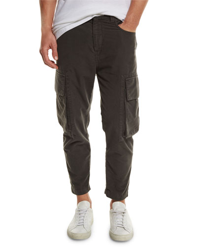 Cropped Cargo Jeans, Black