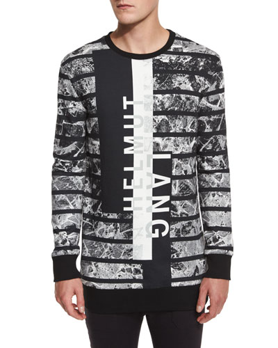 Logo Graphic Oversized Sweater, Black Multi