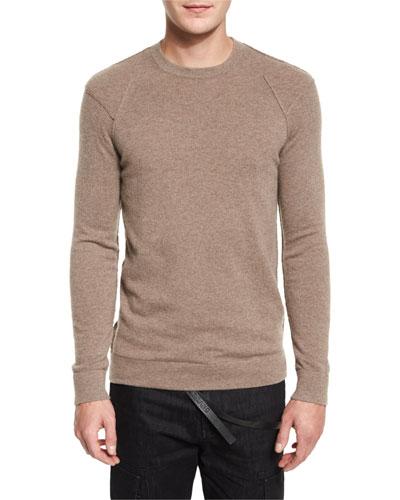 Cashmere Reverse-Seam Crewneck Sweater, Walnut