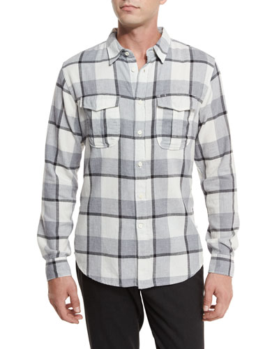 Plaid Flannel Woven Shirt, Gray Pattern