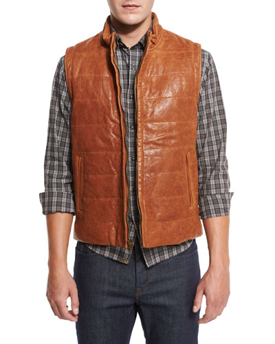 Quilted Leather Vest, Tobacco