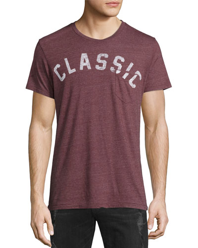 Classic Graphic Pocket T-Shirt, Maroon