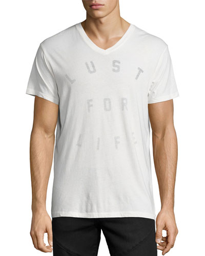 Lust for Life V-Neck T-Shirt, White