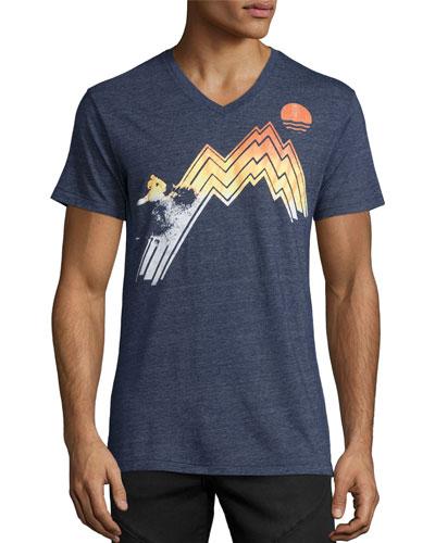 Gradient Sunset V-Neck T-Shirt, Navy