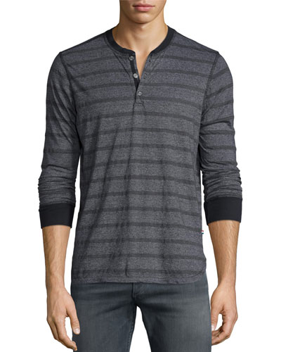 Striped Long-Sleeve Henley T-Shirt, Blue Pattern