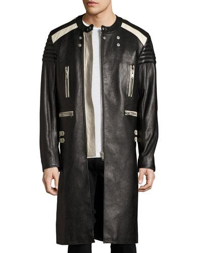 Colorblock Leather Long Biker Coat
