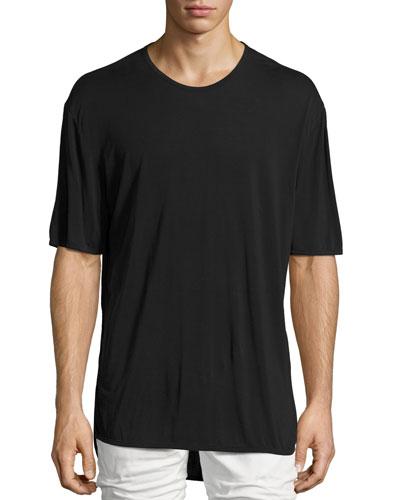 Silk T-Shirt w/Long Hem
