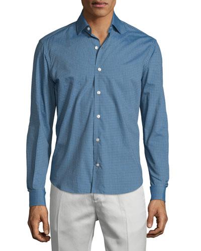 Muted Check Long-Sleeve Sport Shirt, Gray/Aqua