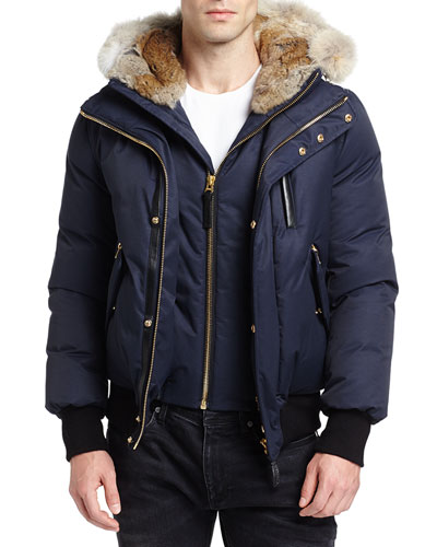 Dixon-C Lux Down Bomber Jacket w/Fur-Lined Hood, Navy
