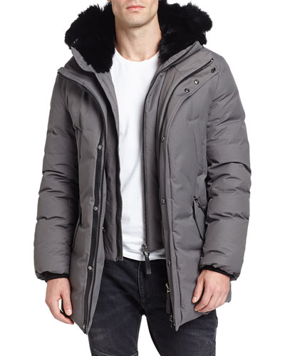 Edward-BC Lux Down Jacket w/Fur-Lined Hood, Slate