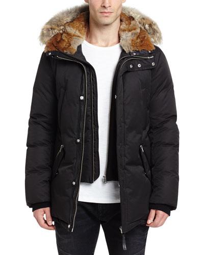Lux Hooded Jacket w/Coyote & Rabbit Fur Trim, Black