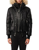 Mackage Glen Leather Down Bomber Jacket with Fur