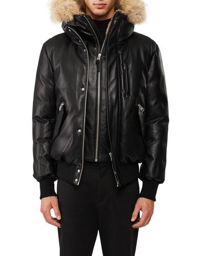 Leather Down Bomber Jacket w/Coyote & Rabbit Fur Trim, Black