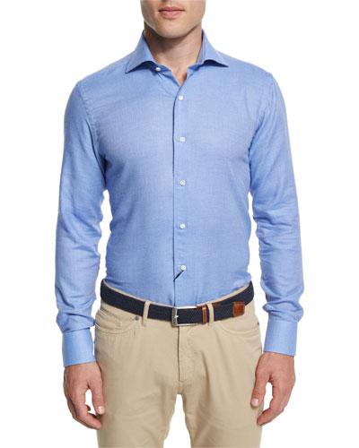 Flannel Long-Sleeve Sport Shirt, Cobalto