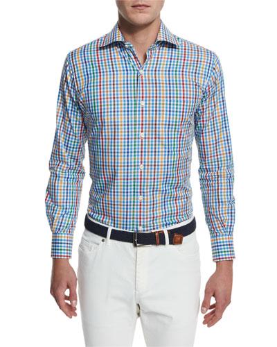 National Pinwheel Plaid Long-Sleeve Sport Shirt