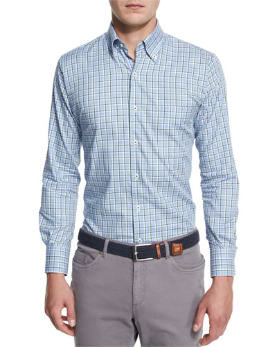 Rugby Melange Plaid Long-Sleeve Sport Shirt