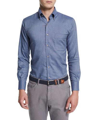 Buffalo Melange Long-Sleeve Oxford Shirt