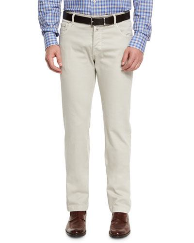 Twill Five-Pocket Pants, Tan