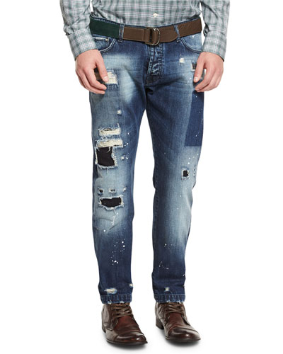 Distressed Straight-Leg Jeans, Blue