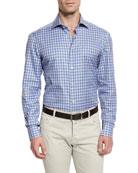 Ombre-Plaid Woven Sport Shirt, Blue/Camel