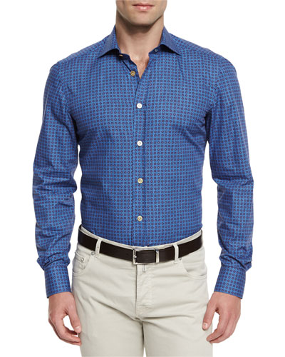 Circle-Print Woven Sport Shirt, Blue/Brown