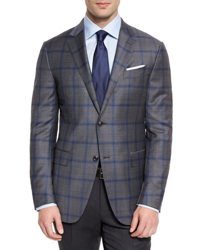 Plaid Light Trofeo Wool Two-Button Sport Coat, Gray/Blue