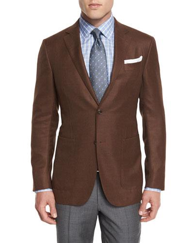 Wool Two-Button Blazer, Rust