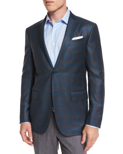 Plaid Wool Two-Button Sport Coat, Petrol/Camel