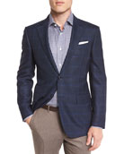 Double-Windowpane Check Sport Coat, Navy